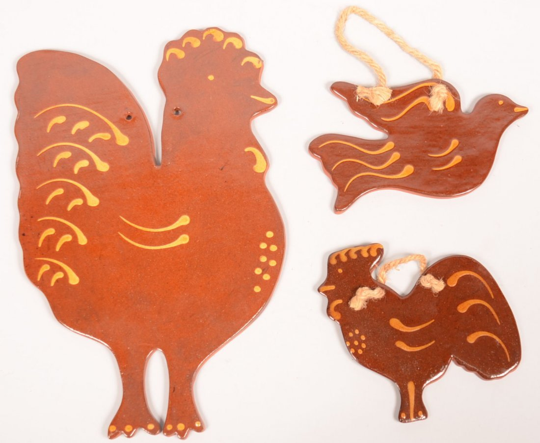 14. Three Foltz  Redware Pottery Animal Form Plaques