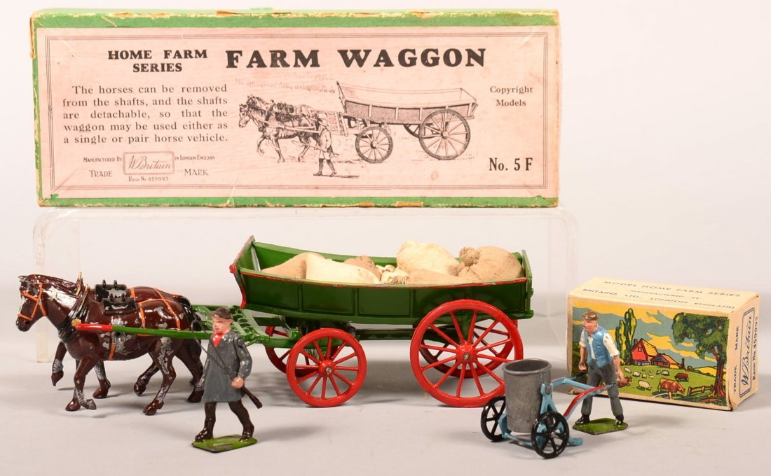 129. Britain Toy Farm Waggon and Man with Push Cart.