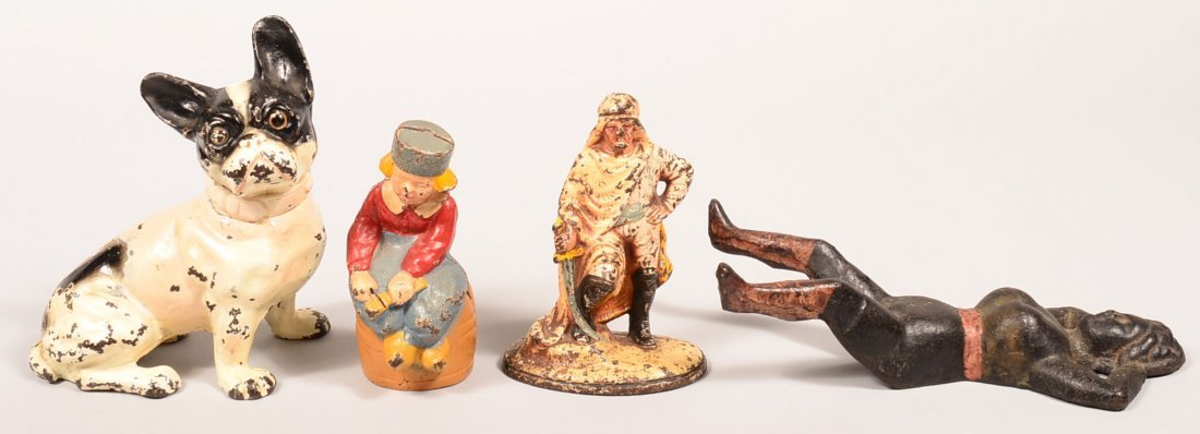 153. Four Pieces of Painted Cast Iron Figural. French