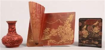 372 Three Pieces of Chinese laquerware Cinnabar Vase