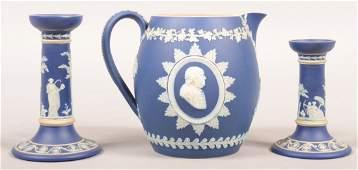 795. Three Pieces of Wedgwood Cobalt Blue Jasperware