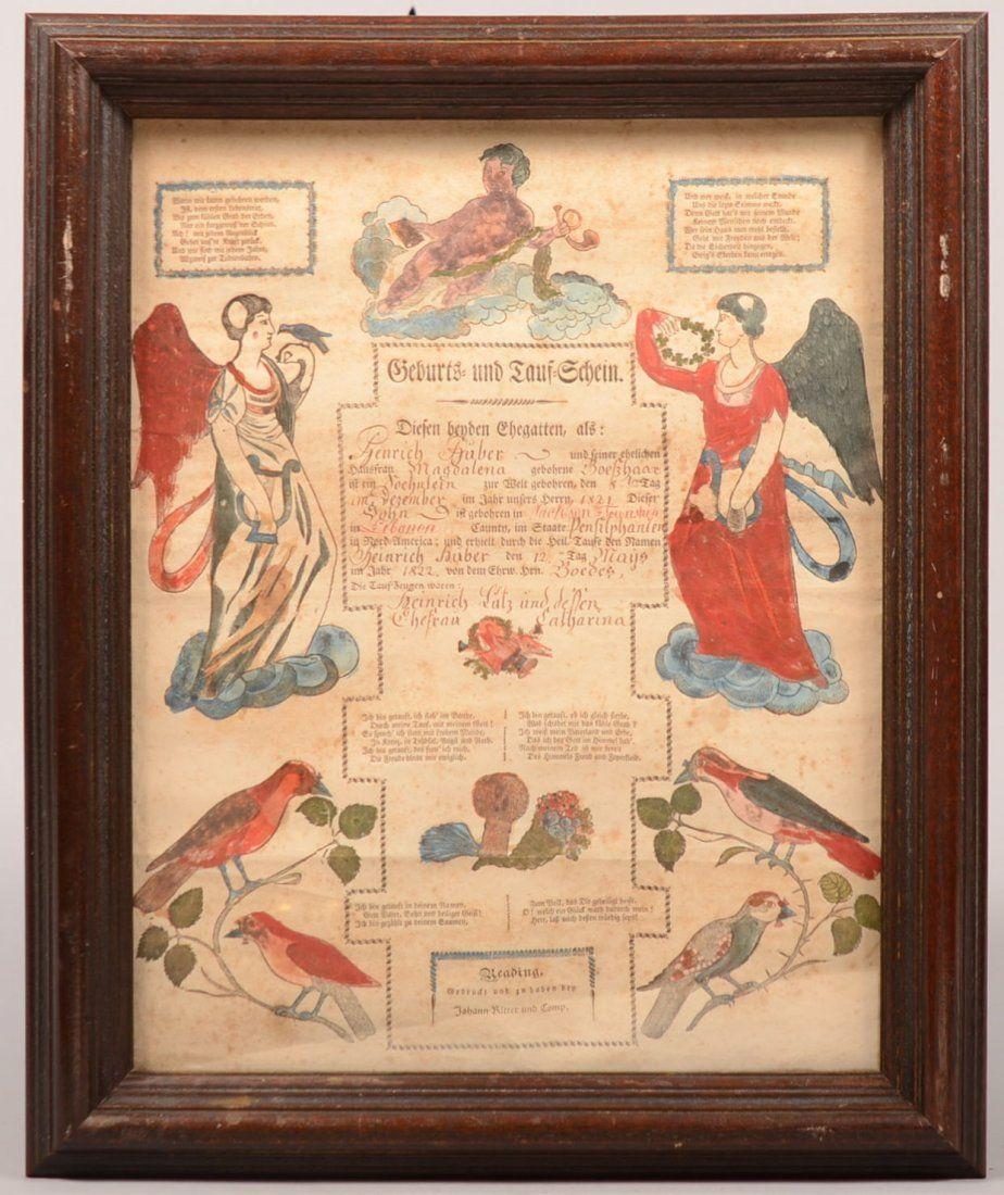 852. Printed and Illuminated Birth and Baptismal