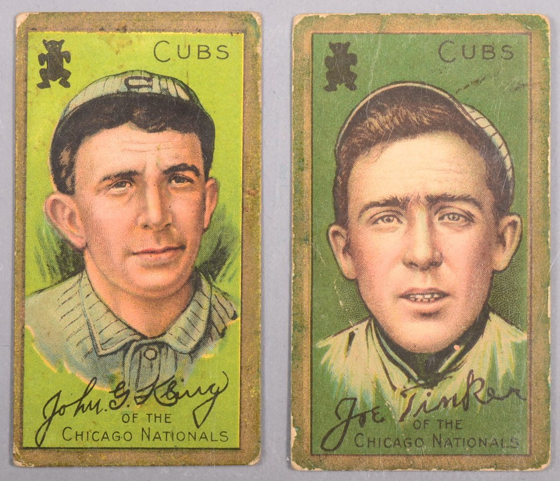 Two T-205 gold border cards circa 1911. The first is