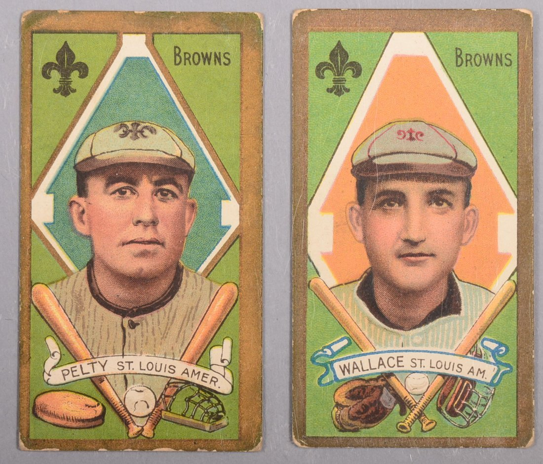 Two T-205 gold border cards circa 1911. The first is B.