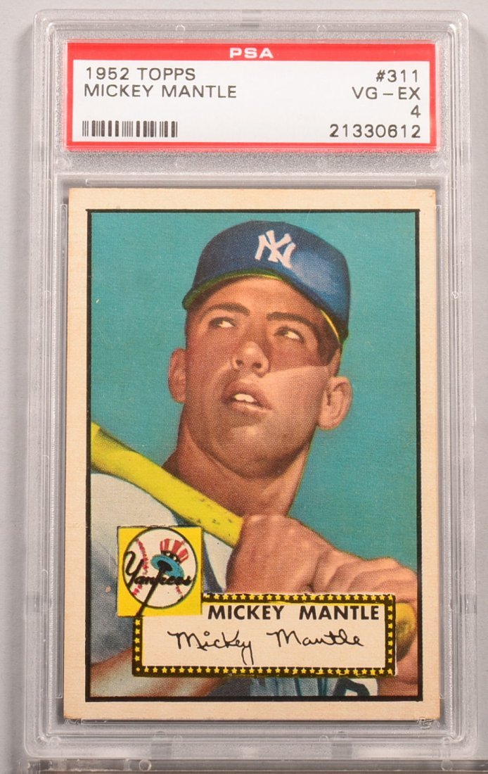 Topps 1952 series baseball card: #311 Mickey Mantle.
