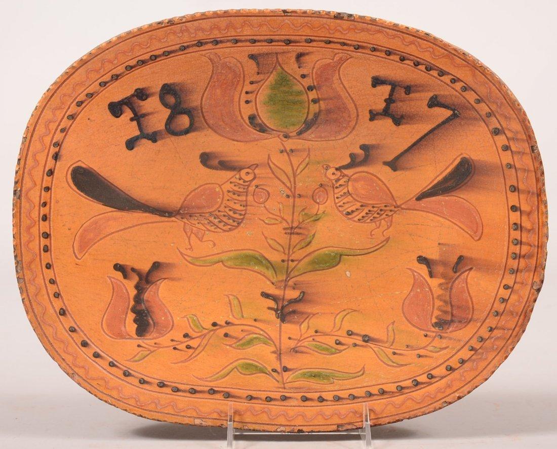 Greg Shooner 2004 Redware Platter/Loaf Dish. Sgraffito