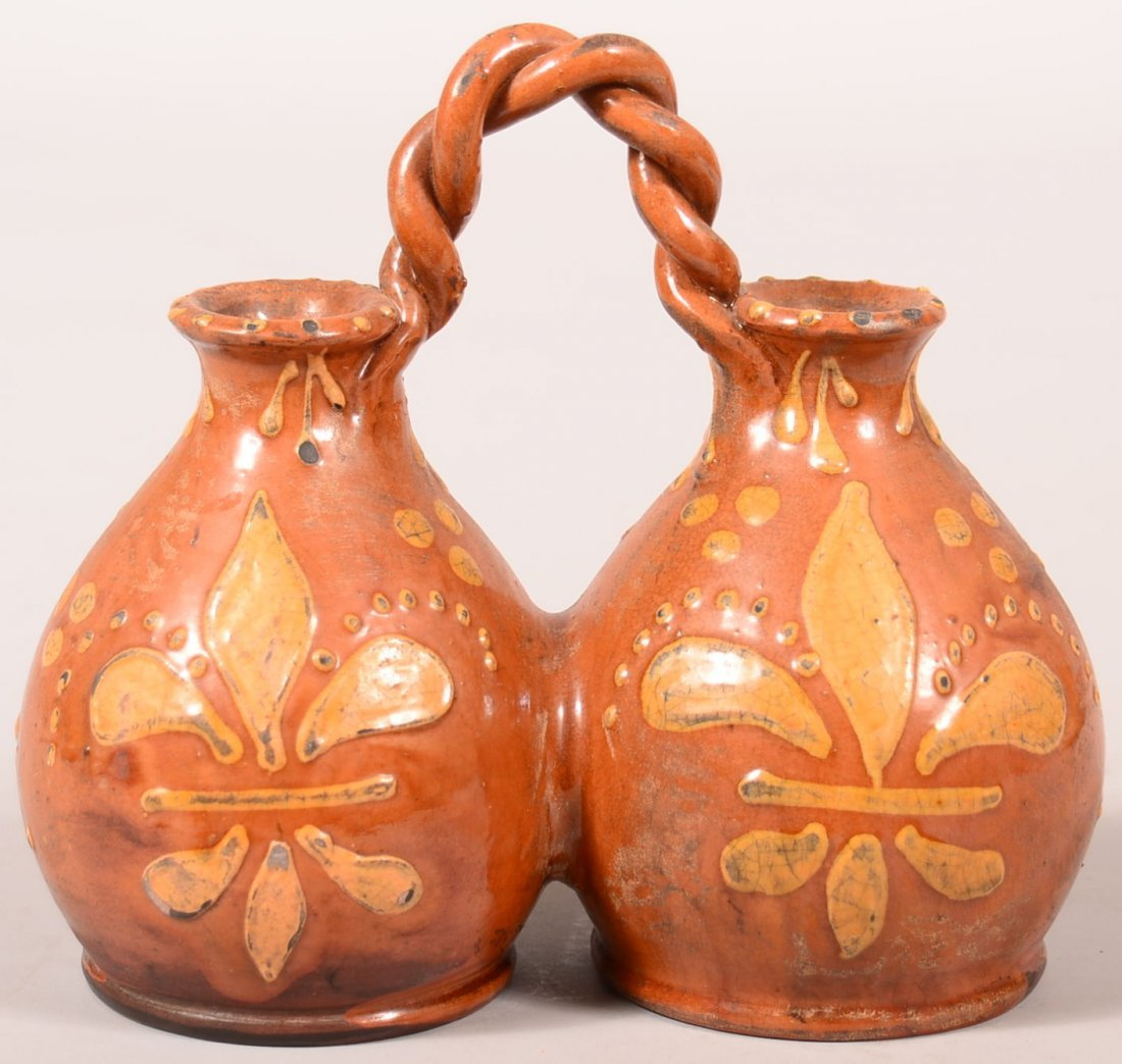 Turtle Creek Redware Vinegar and Oil with rope twisted