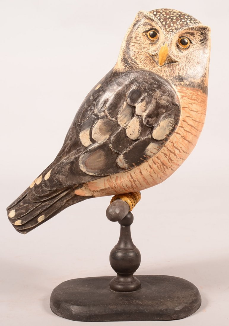 Jay Miles 2007 Hawk Owl Sculpture. Wooden carved and
