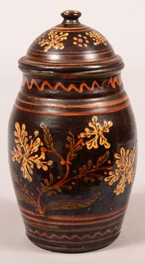 Greg Shooner 2004 Redware Covered Jar. Polychrome slip