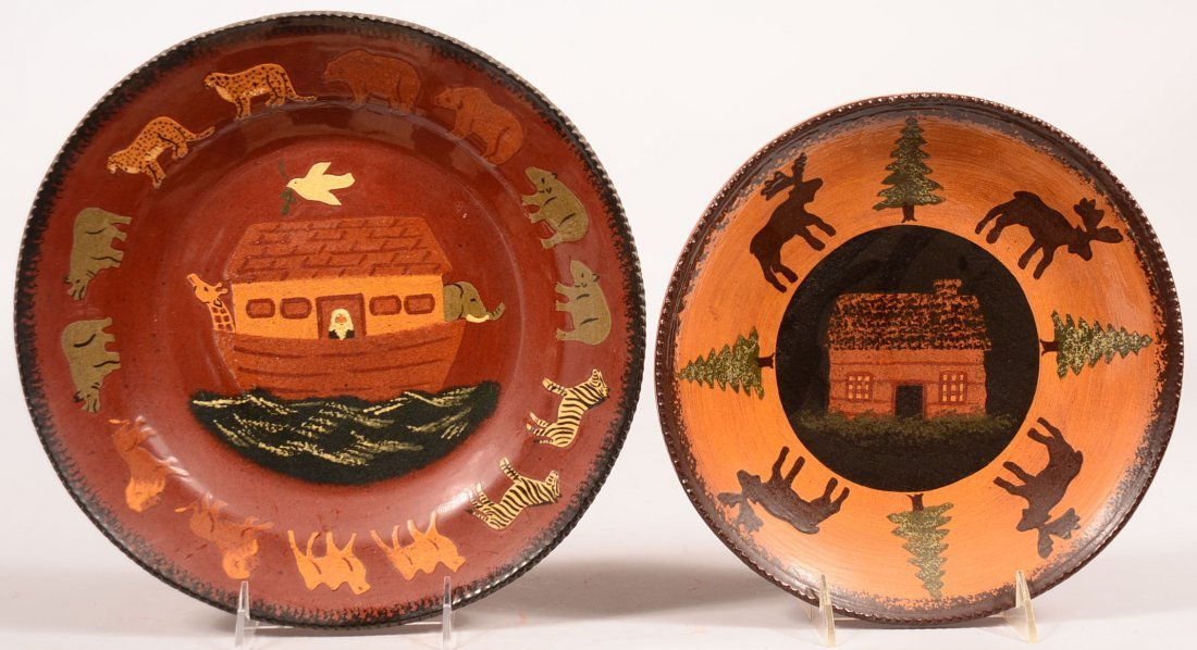 Foltz Noah's Ark and Cabin with Animal Redware Pottery
