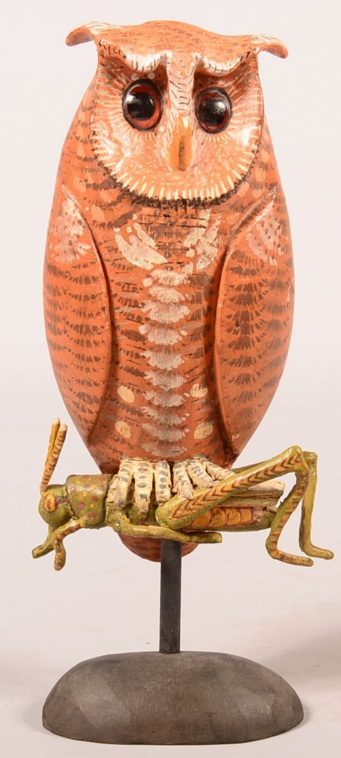 Miles Wooden Owl With Grasshopper Sculpture. Carved and