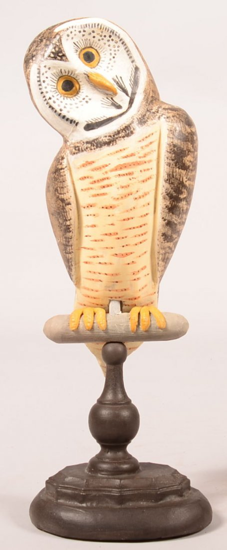 Jay Miles 2007 Wooden Owl Sculpture. Carved and
