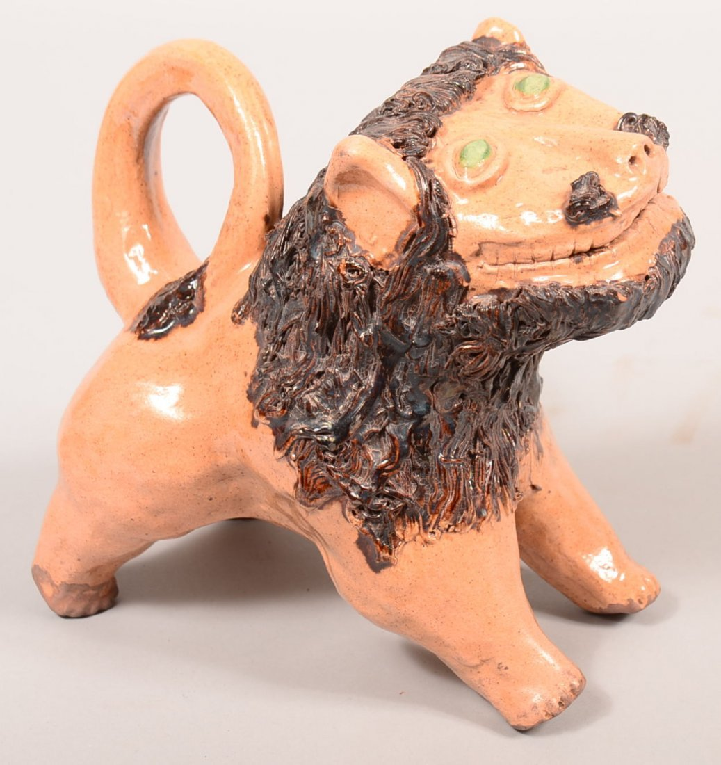 Turtle Creek Redware Bell Style Lion Sculpture with