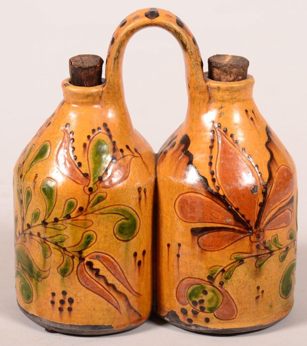 Greg Shooner 2011 Redware Vinegar and Oil Set.