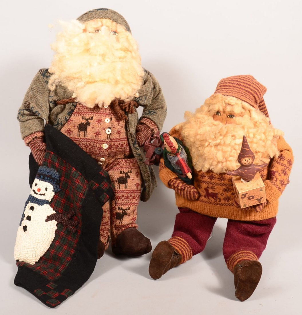 Two Joyce Tapply Bingham Folk Art Santa Dolls.  Hand