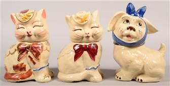 Three Various Shawnee Pottery Ceramic Cookie Jars
