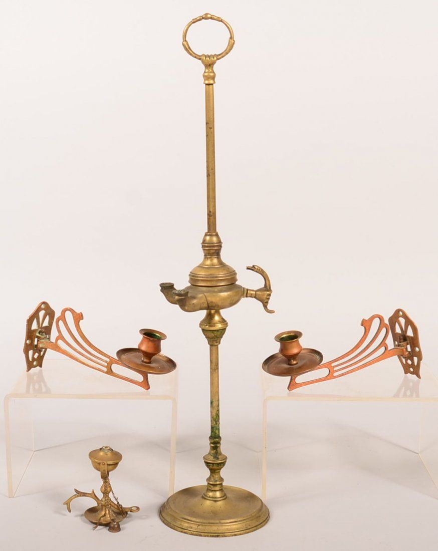 Three Brass Lighting Devices. Miniature gimbal with