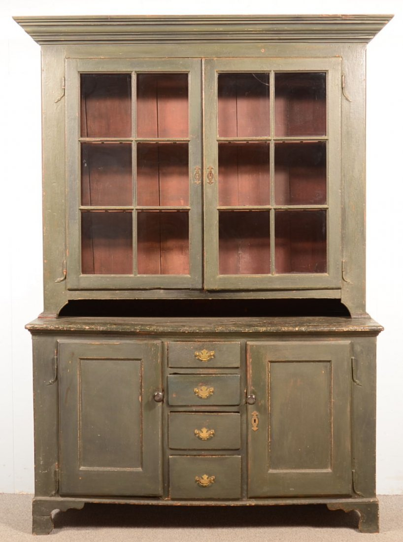 Lancaster County, PA Chippendale Green Painted Softwood