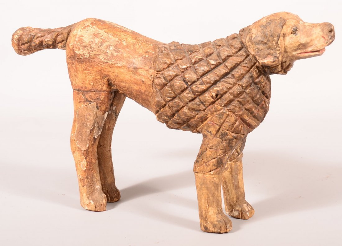 Wilhelm Schimmel Large Carved and Painted Spaniel.