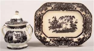 Two Pieces of Mulberry Transfer Ironstone China;
