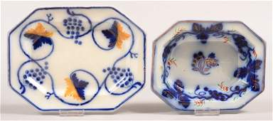 """Two Pieces of Gaudy Ironstone Flow Blue """"Grape and"""