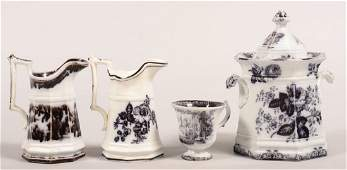 """Four Pieces of Mulberry Transfer Ironstone China. """"Moss"""