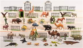 Grouping of Zoo Figures Painted cast metal including