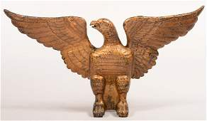 Cast Iron Spreadwing Eagle Ornament Painted gold 8h