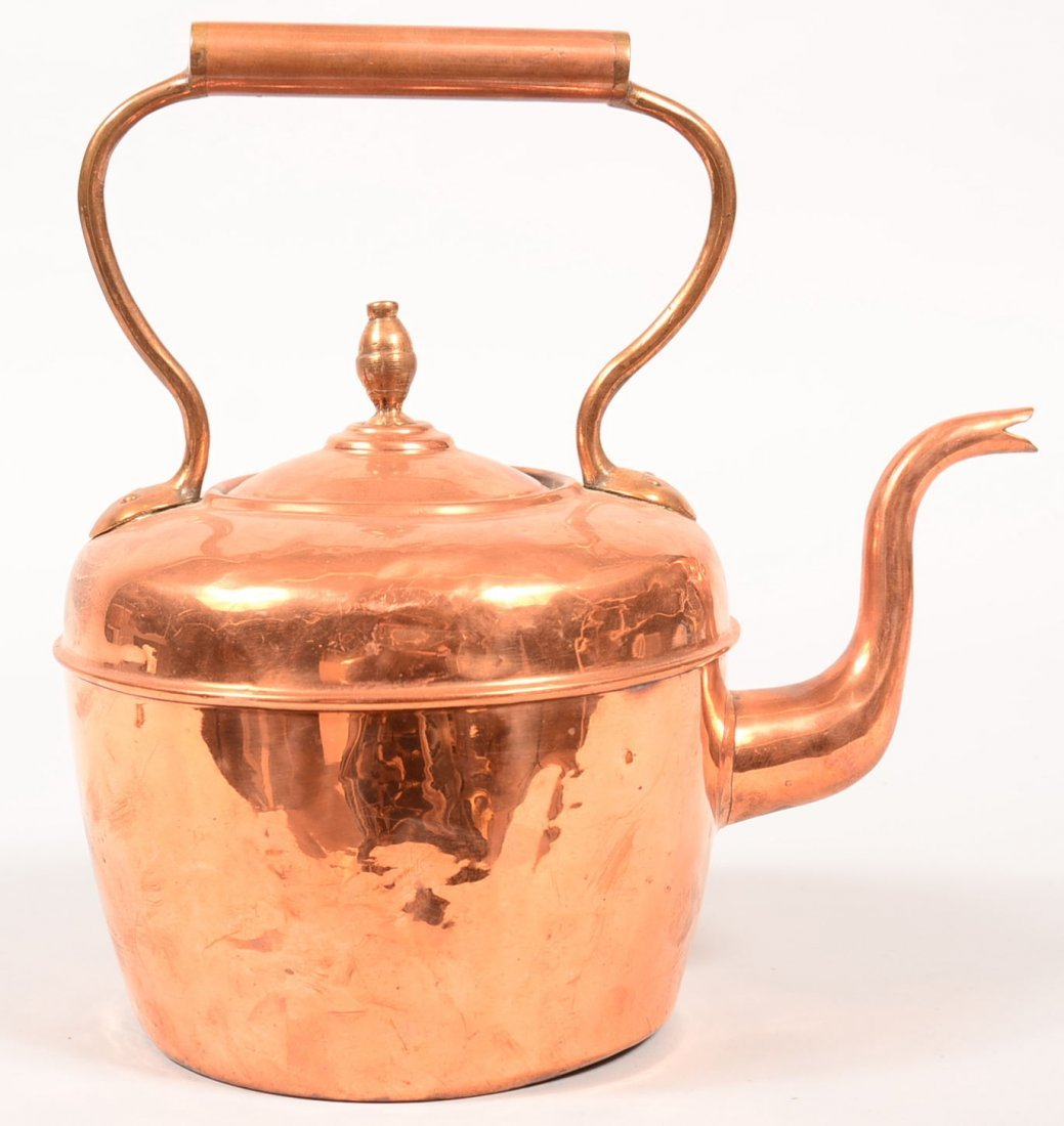 Copper and Brass Tea Kettle. Gooseneck spout,