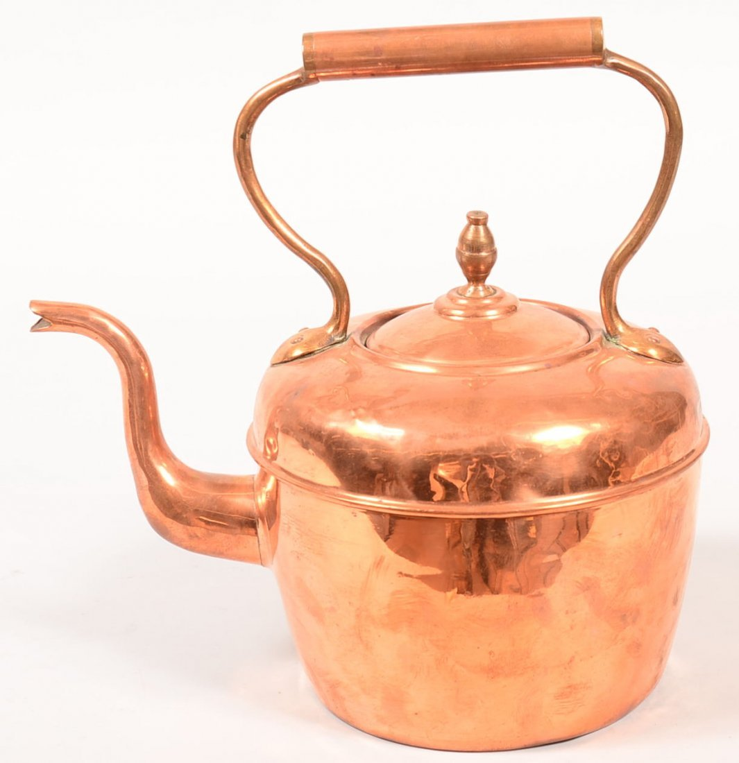 Copper and Brass Tea Kettle. Gooseneck spout, - 2