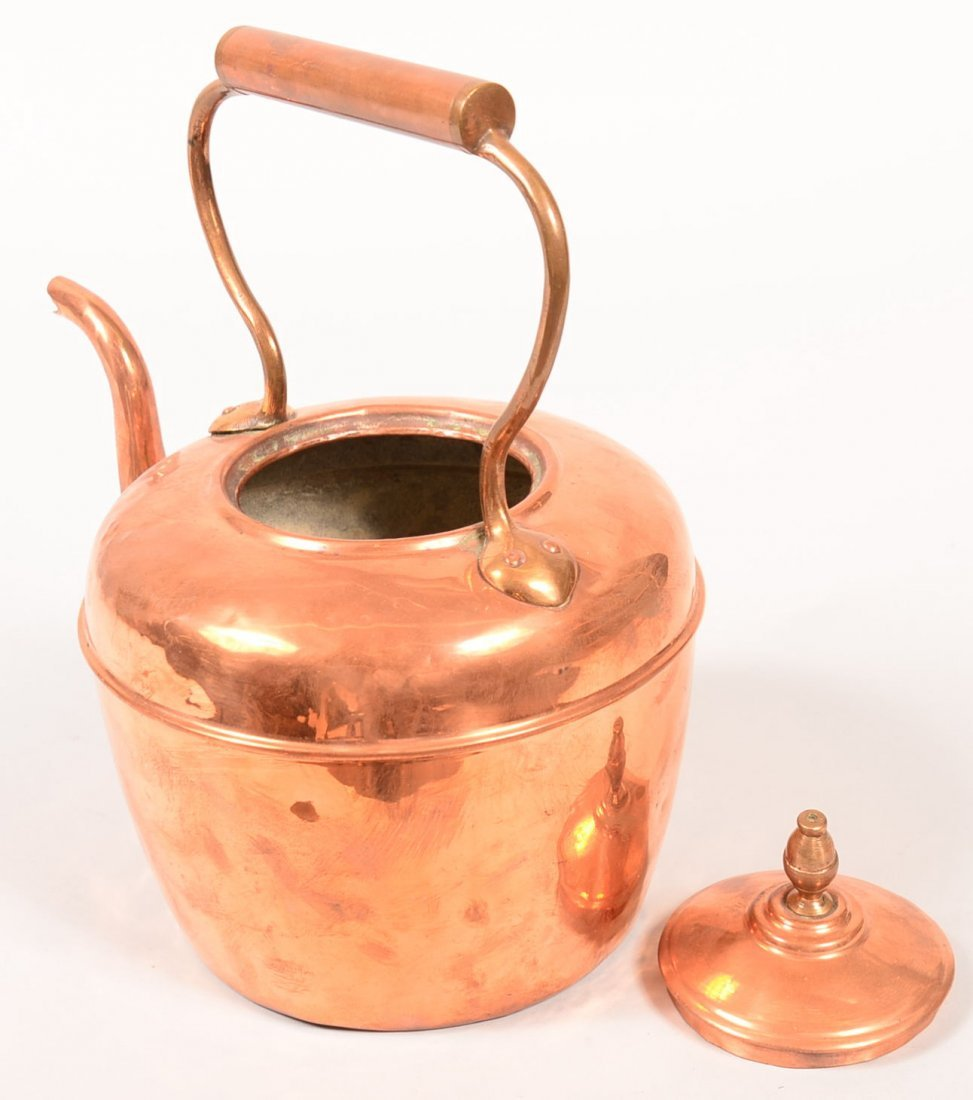 Copper and Brass Tea Kettle. Gooseneck spout, - 3