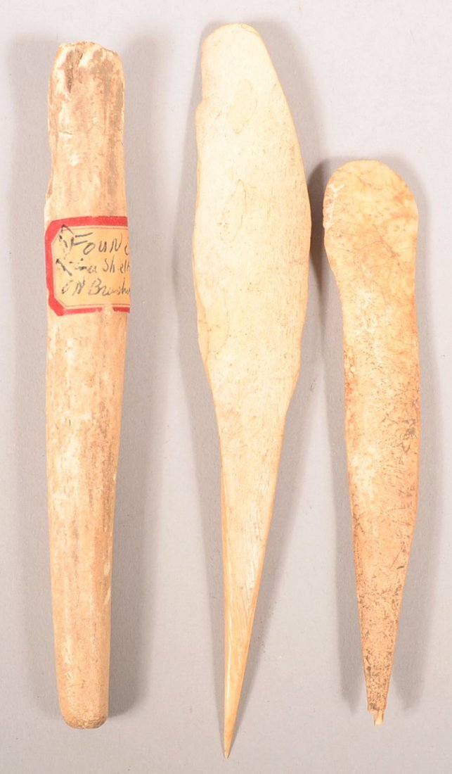 3 well preserved, ancient Indian bone tools - awls &