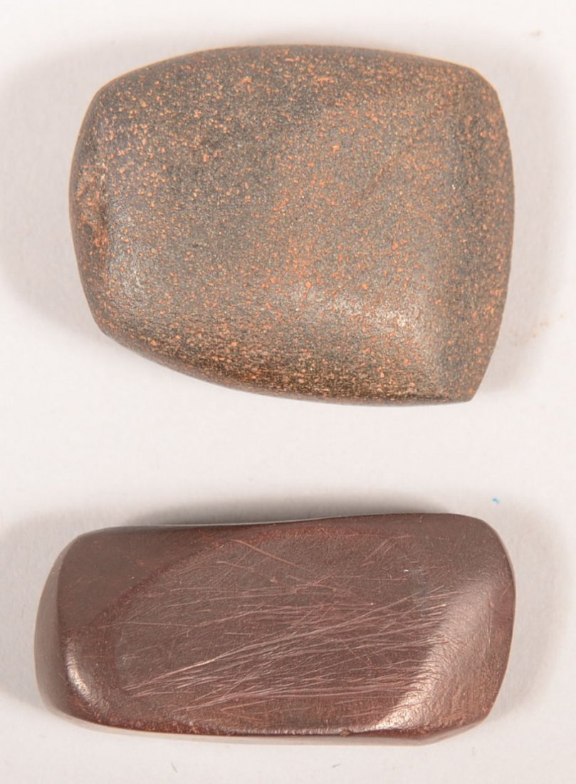 2 Ancient hematite artifacts - a small Celt and a