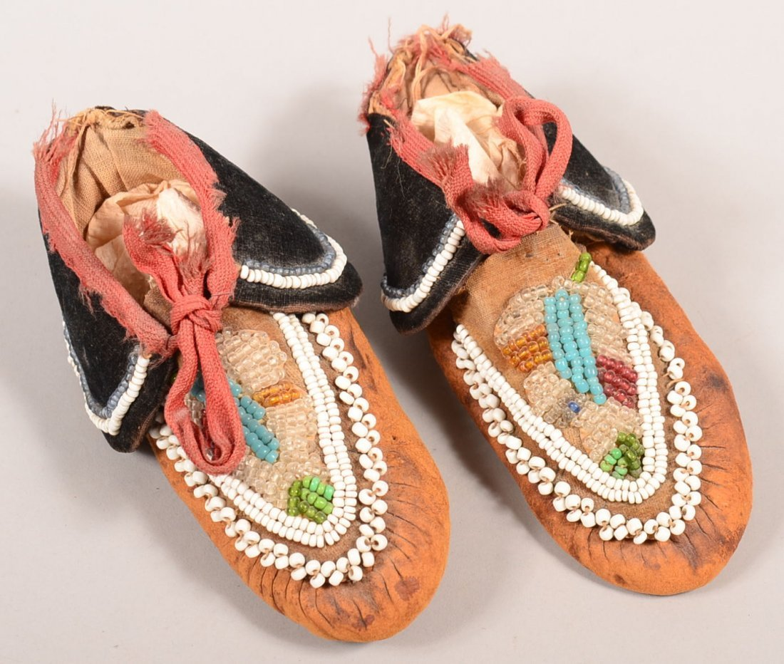 A pair of old Caughnawaga Mohawk Indian moccasins with