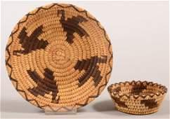 "2 older Papago Indian baskets - a 6-3/4"" dia.split"