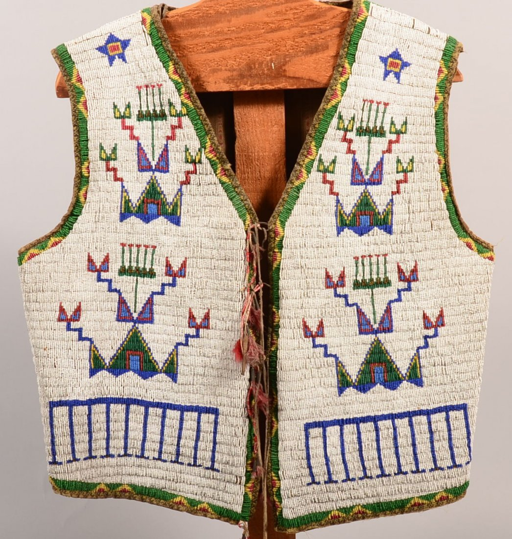 A very good antique Sioux Indian man's vest - fully
