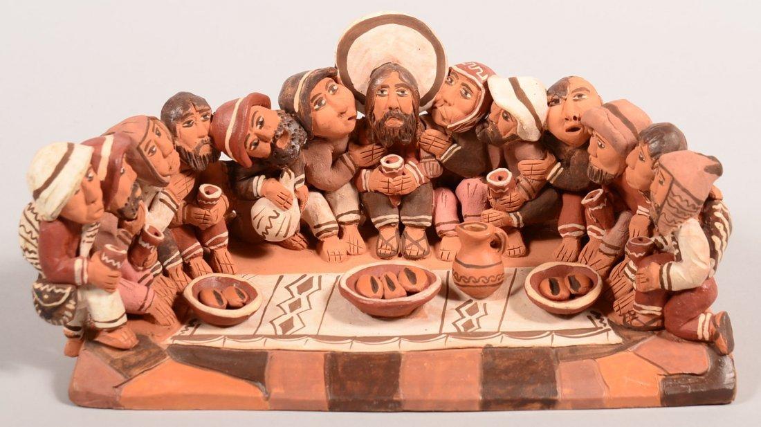"A Peruvian clay sculpture ""The Last Supper"" - Good"