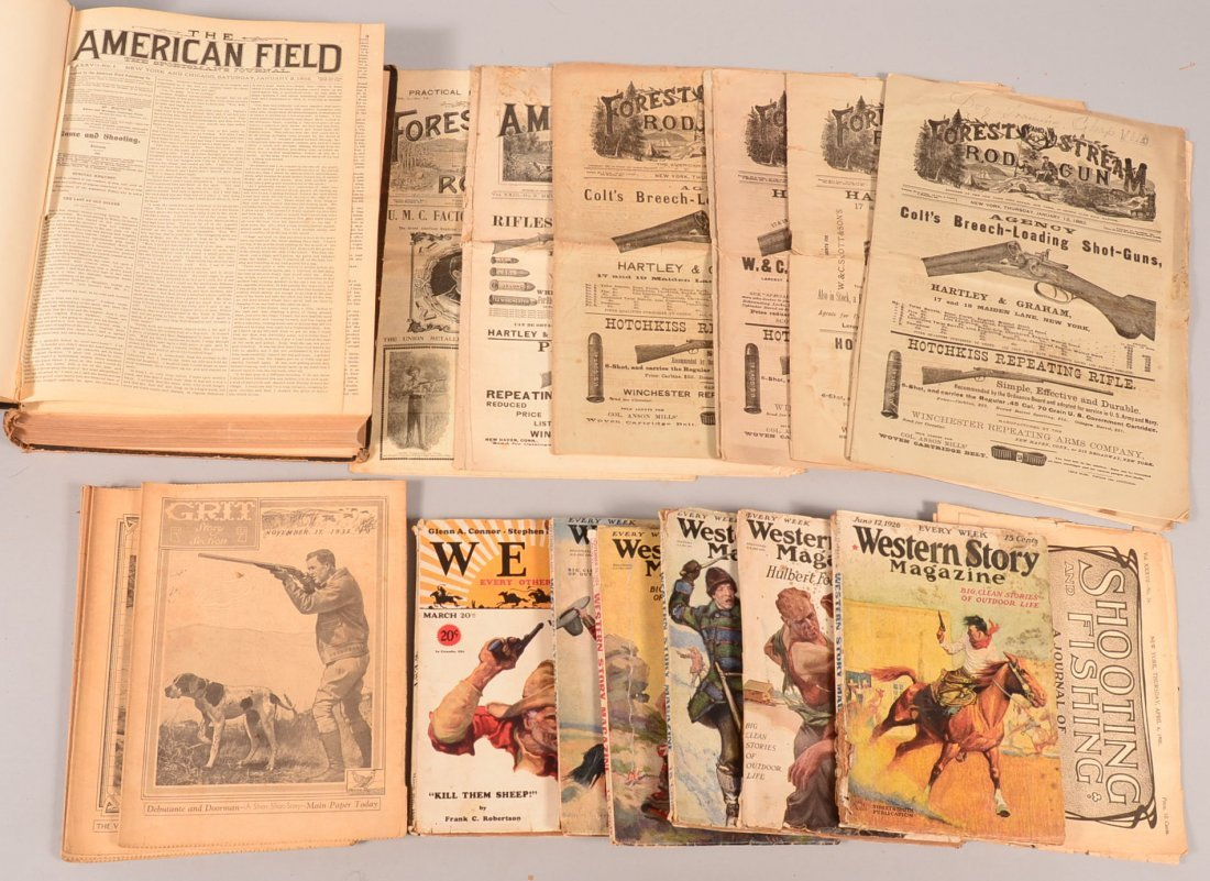 Lot of sporting and western newsprint including a bound