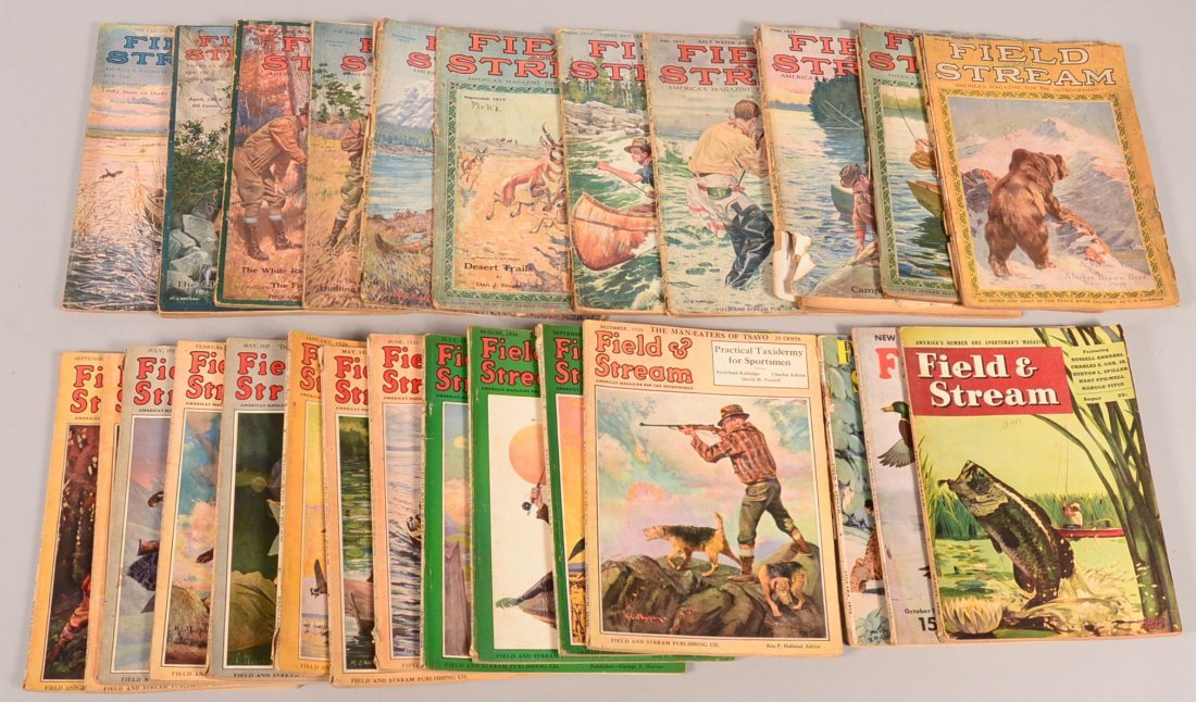 "Lot of (28) vintage ""Field and Stream"" 1916 to 1953:"