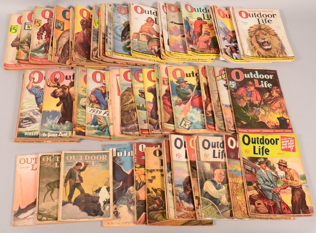"Lot of (73) vintage ""Outdoor Life"" 1910 to 1947, mostly"