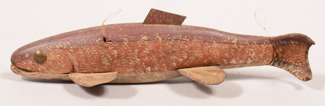 Rare and very early antique fish spearing decoy,