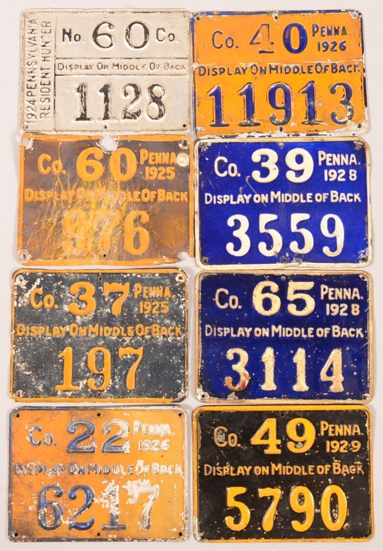 Lot of (8) PA aluminum hunting license tags: 1924 (1),