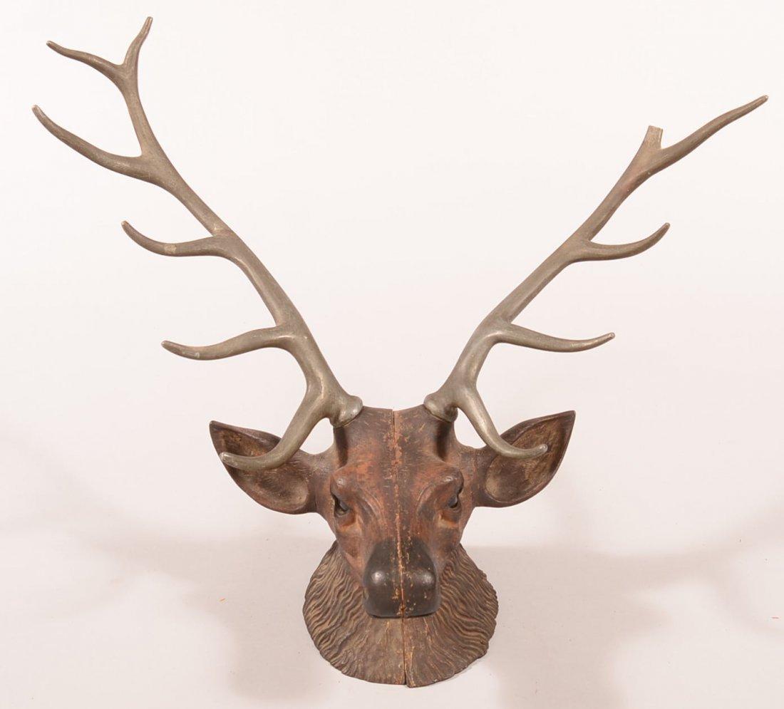 Victorian era cast iron stag head with aluminum