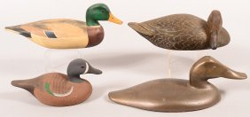 """Decoy Lot Of (4): Carved Duck """"RF 1981""""- Head Is Turned;"""