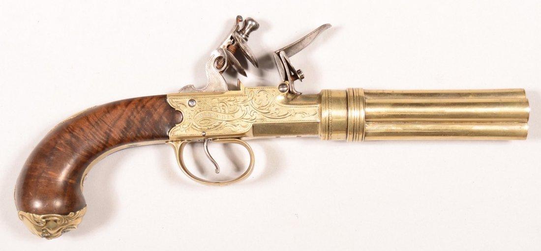Engraved german silver 4-barrel flintlock pistol by T.