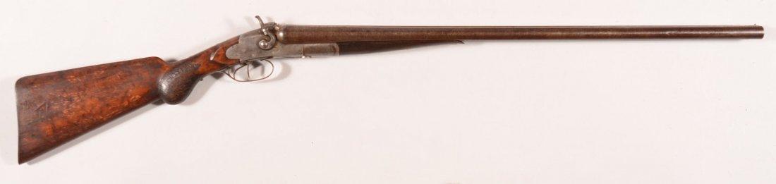 Baker double barrel SxS hammer shotgun having 10 gauge
