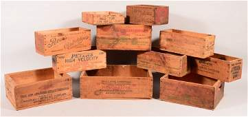 Lot of (11) various makers wood ammo boxes including