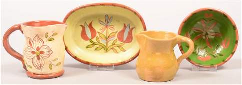 Four Pieces of Keyser Redware Pottery. (C. Naaman