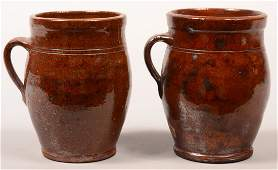 Two Pennsylvania 19th Century Redware Pottery Apple