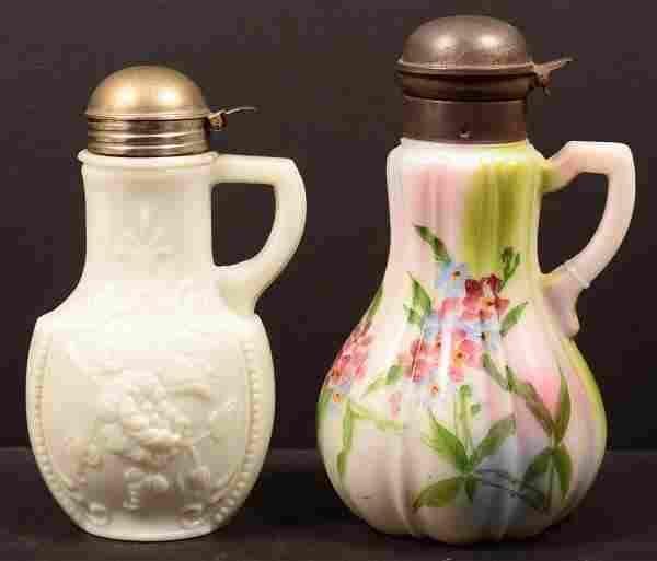 Pair of Victorian Period Milk Glass Tin Mounted Cruets.